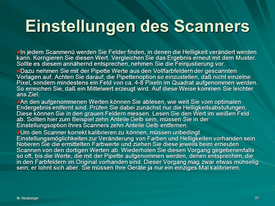 Einstellungen des Scanners