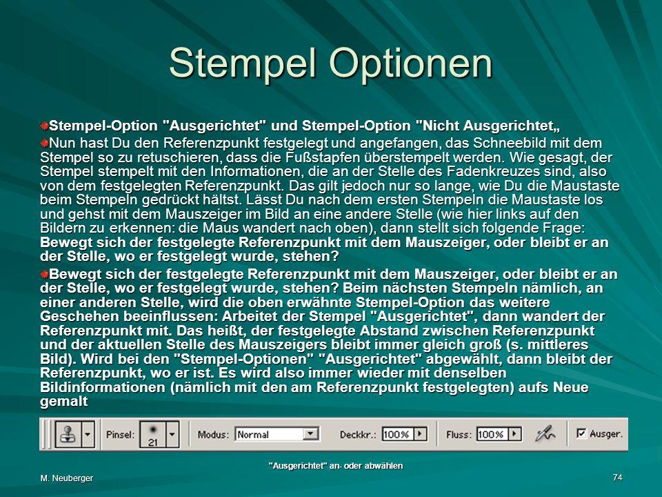 "Stempel Optionen Stempel-Option Ausgerichtet und Stempel-Option Nicht Ausgerichtet"""