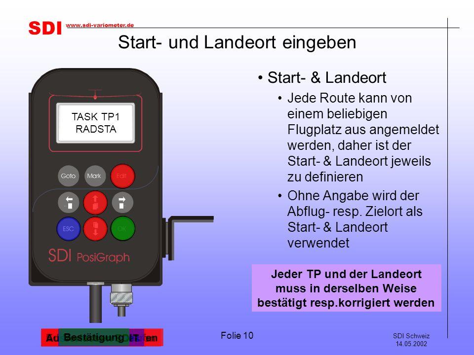 Start- und Landeort eingeben