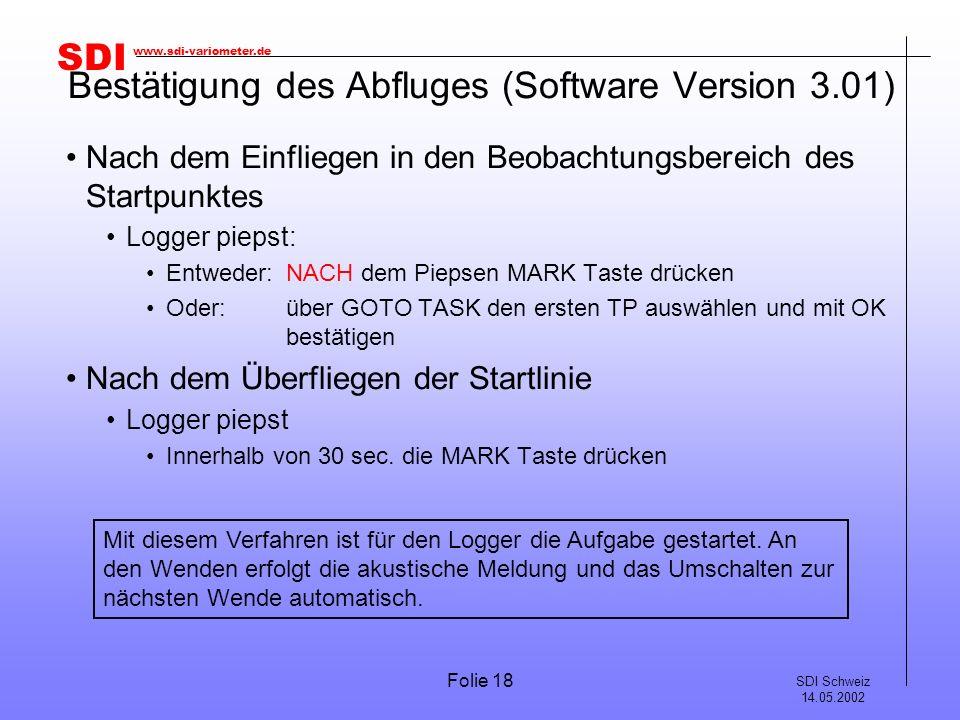 Bestätigung des Abfluges (Software Version 3.01)