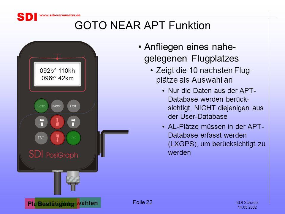 GOTO NEAR APT Funktion Anfliegen eines nahe-gelegenen Flugplatzes