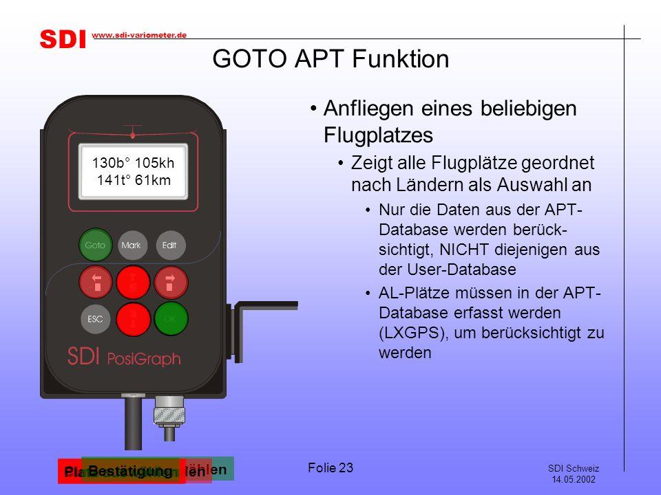 GOTO APT Funktion Anfliegen eines beliebigen Flugplatzes