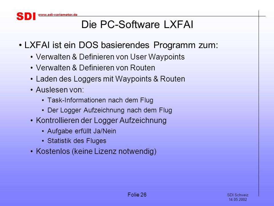 Die PC-Software LXFAI LXFAI ist ein DOS basierendes Programm zum: