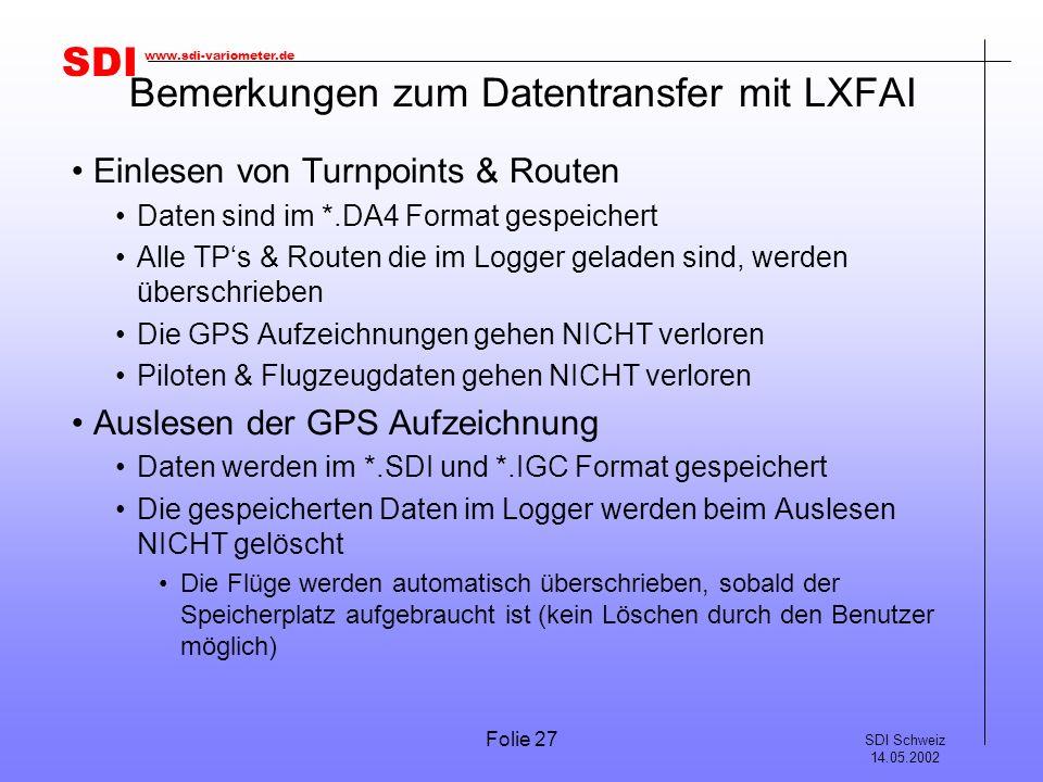 Bemerkungen zum Datentransfer mit LXFAI
