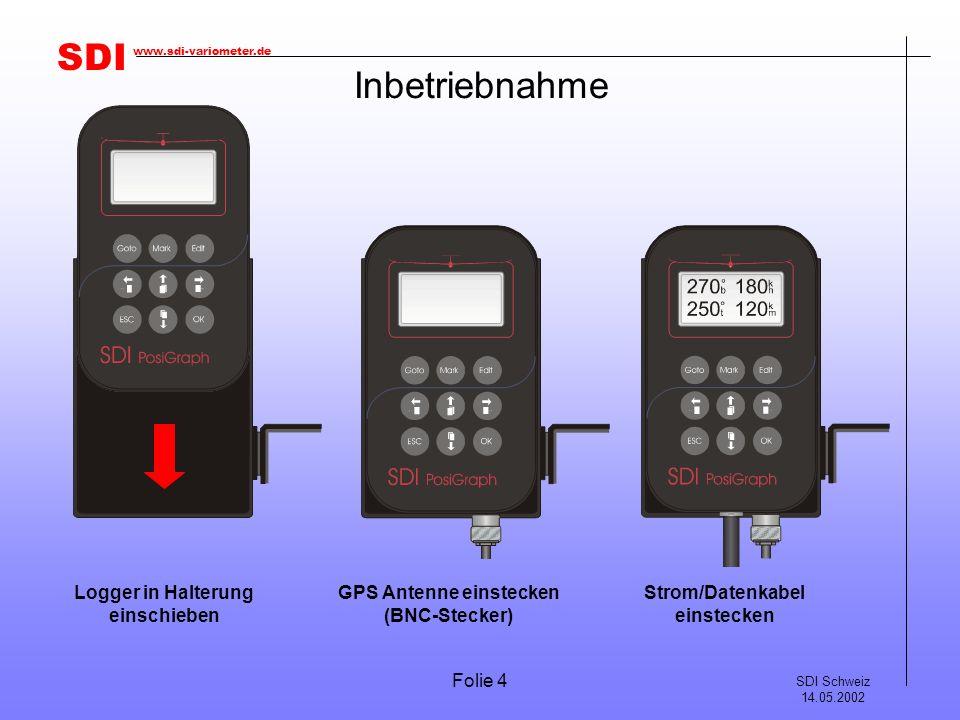 Inbetriebnahme Logger in Halterung einschieben GPS Antenne einstecken