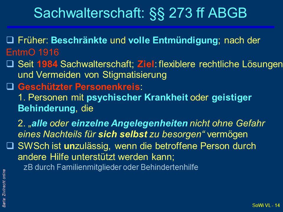 Sachwalterschaft: §§ 273 ff ABGB