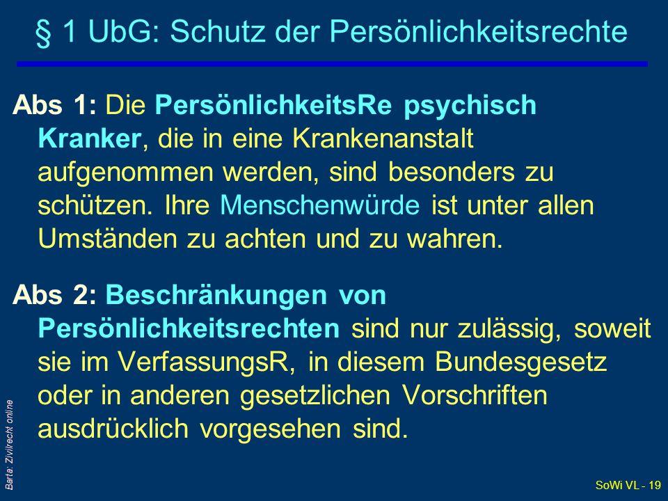 § 1 UbG: Schutz der Persönlichkeitsrechte