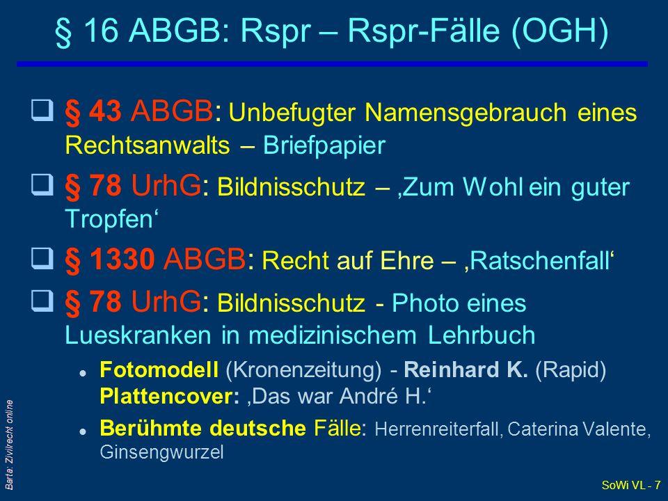 § 16 ABGB: Rspr – Rspr-Fälle (OGH)