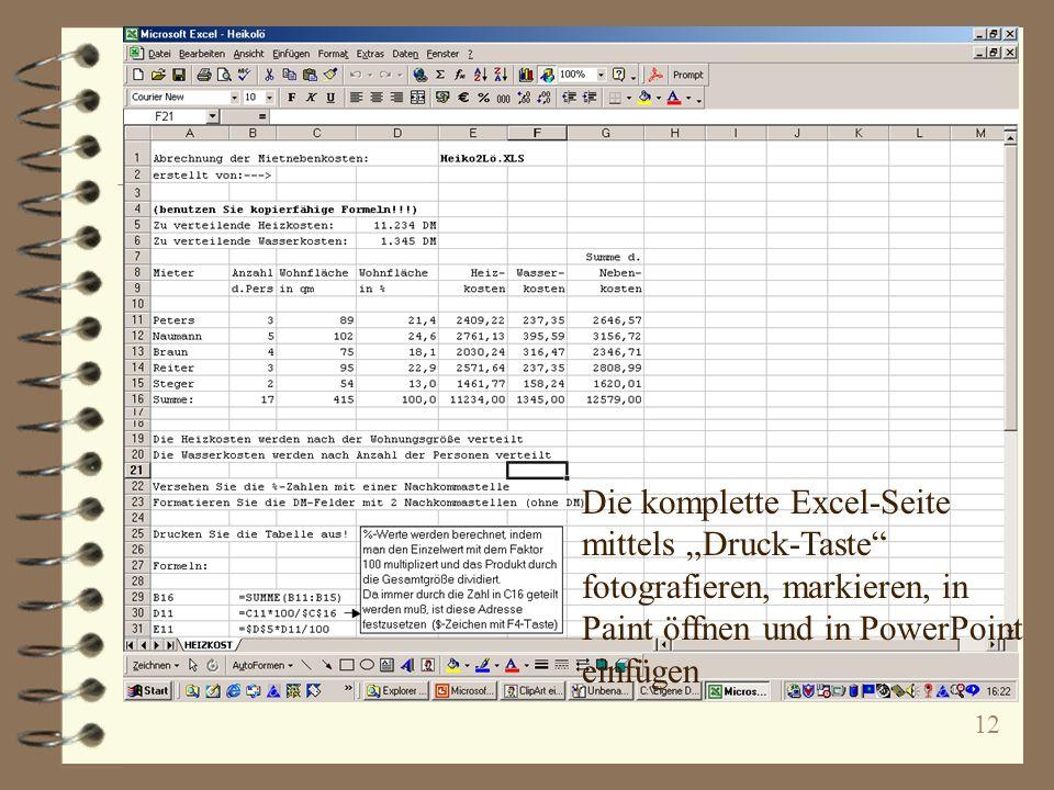 """Die komplette Excel-Seite mittels """"Druck-Taste fotografieren, markieren, in Paint öffnen und in PowerPoint einfügen"""