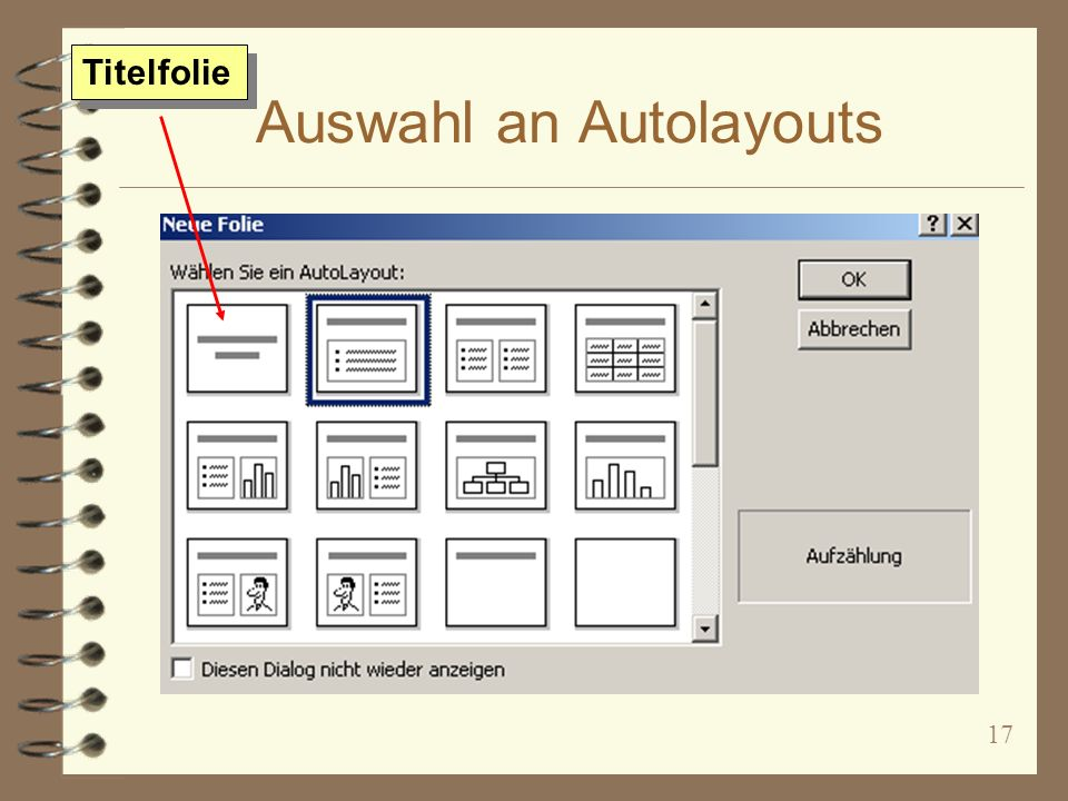 Auswahl an Autolayouts