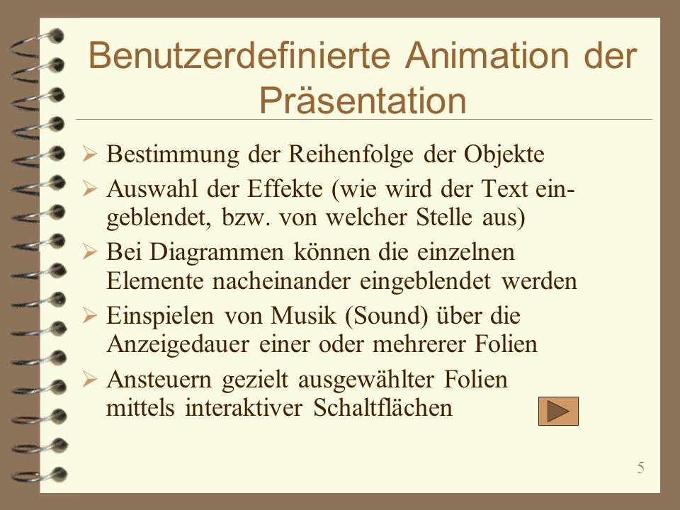 Benutzerdefinierte Animation der Präsentation