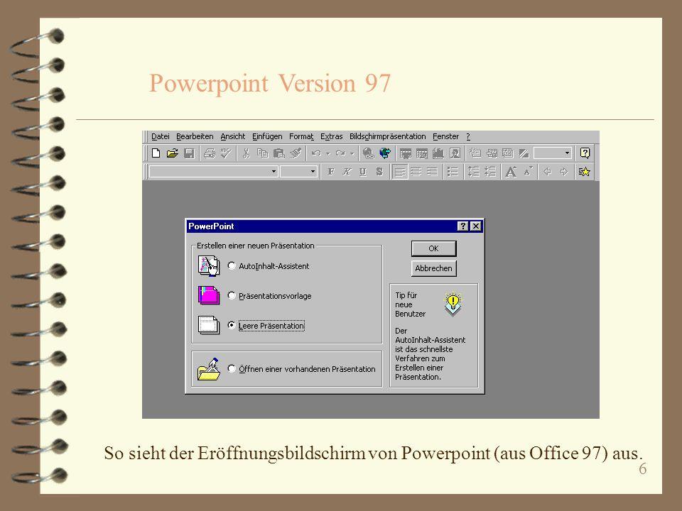 Powerpoint Version 97 So sieht der Eröffnungsbildschirm von Powerpoint (aus Office 97) aus.