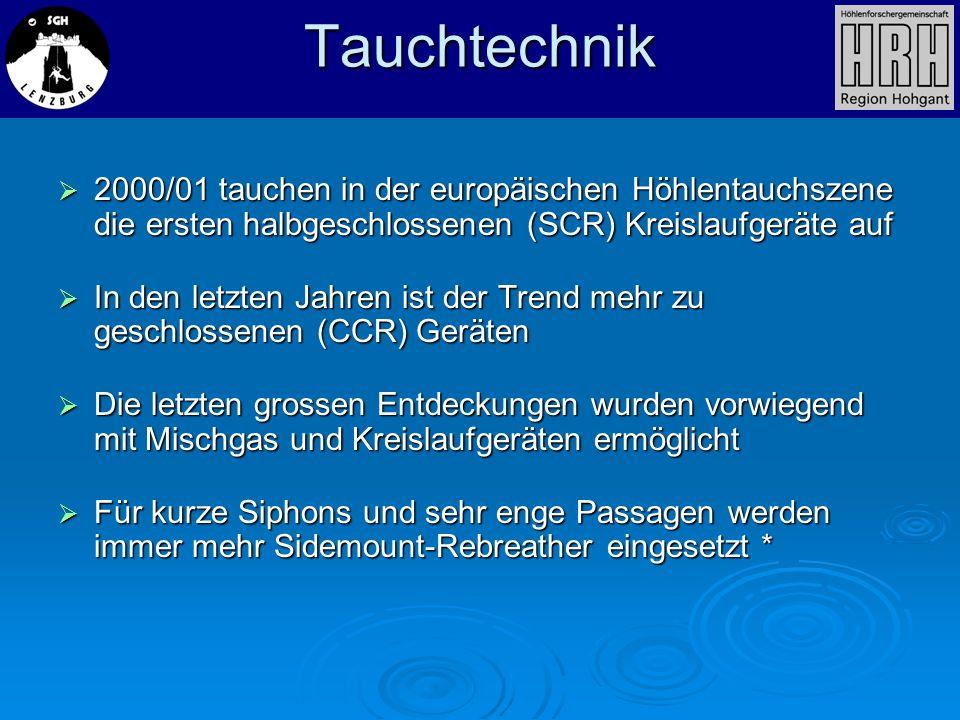 Tauchtechnik2000/01 tauchen in der europäischen Höhlentauchszene die ersten halbgeschlossenen (SCR) Kreislaufgeräte auf.