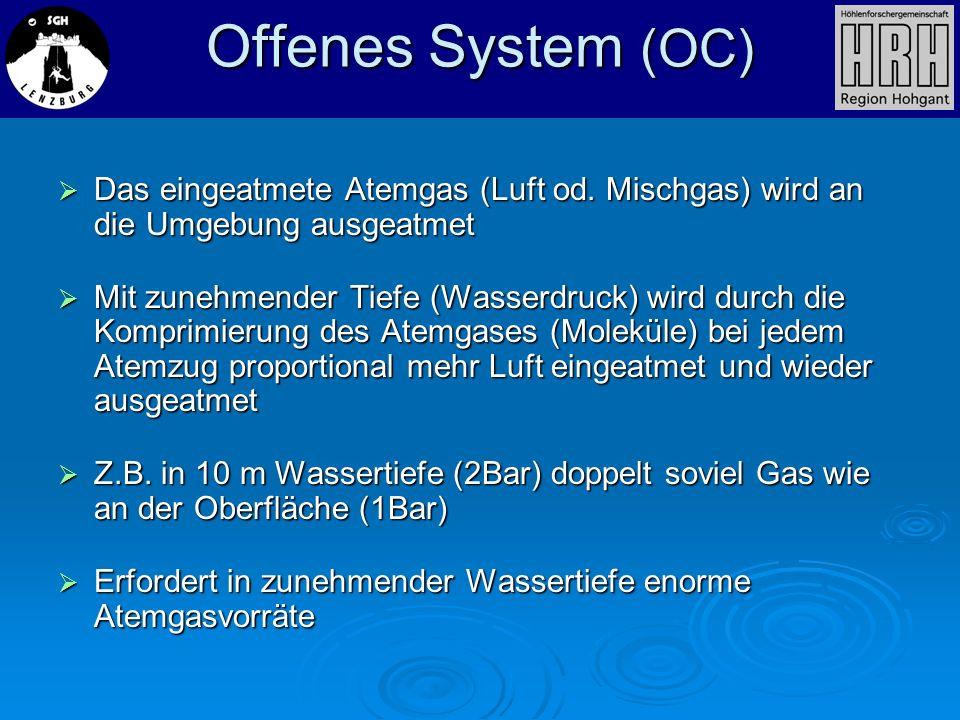 Offenes System (OC)Das eingeatmete Atemgas (Luft od. Mischgas) wird an die Umgebung ausgeatmet.