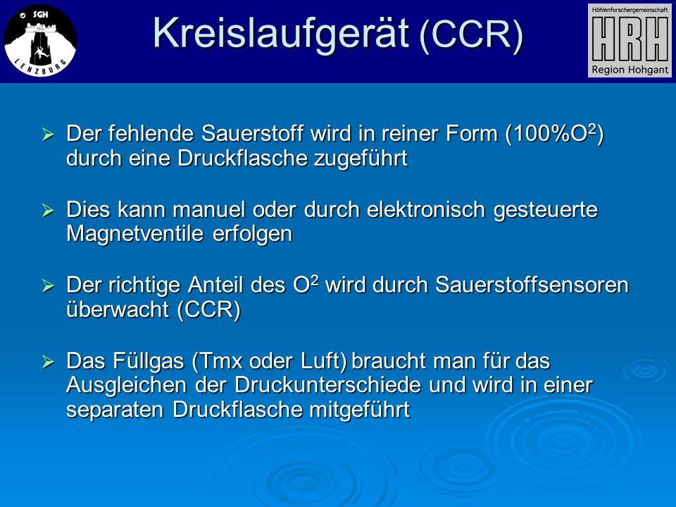 Kreislaufgerät (CCR)Der fehlende Sauerstoff wird in reiner Form (100%O2) durch eine Druckflasche zugeführt.