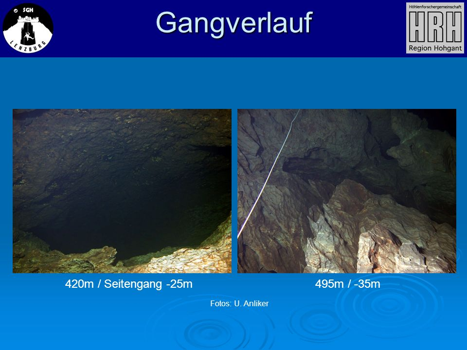 Gangverlauf 420m / Seitengang -25m 495m / -35m Fotos: U. Anliker