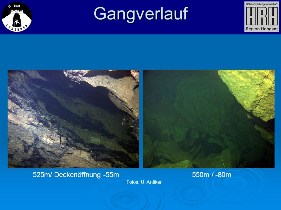 Gangverlauf 525m/ Deckenöffnung -55m 550m / -80m Fotos: U. Anliker
