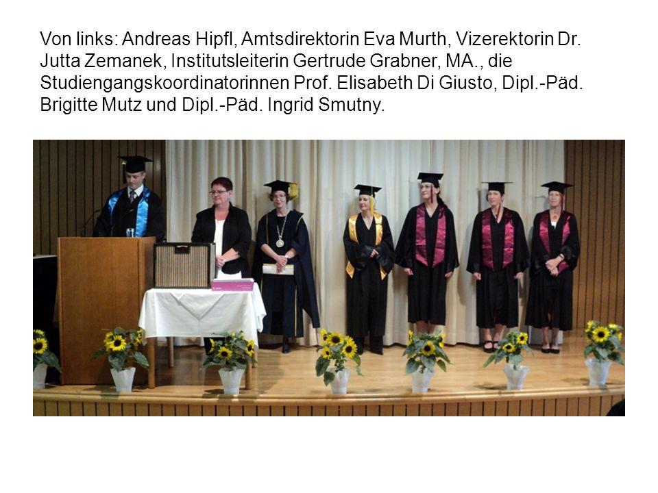 Von links: Andreas Hipfl, Amtsdirektorin Eva Murth, Vizerektorin Dr
