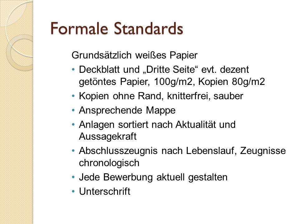 Formale Standards Grundsätzlich weißes Papier