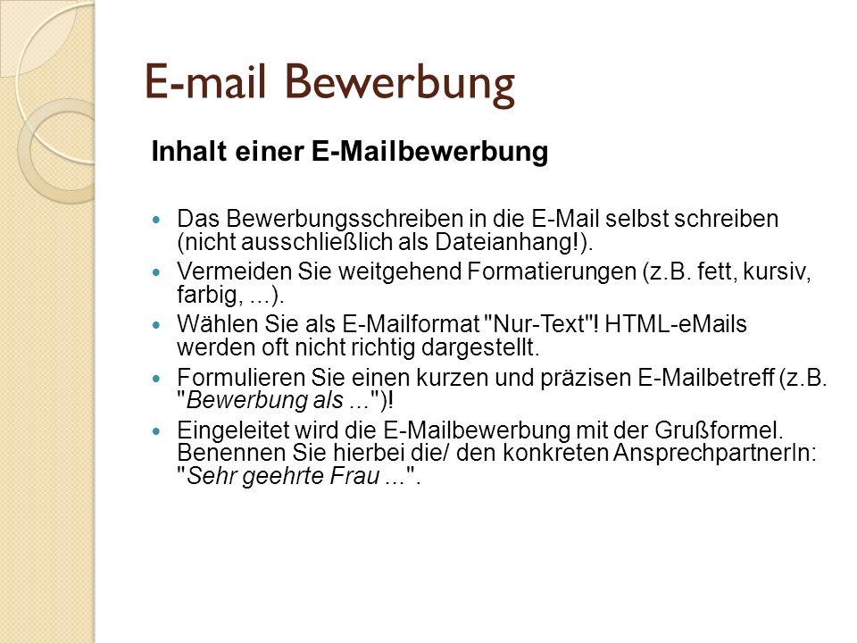 E-mail Bewerbung Inhalt einer E-Mailbewerbung