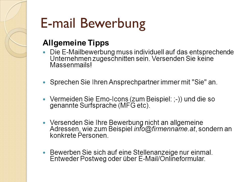E-mail Bewerbung Allgemeine Tipps