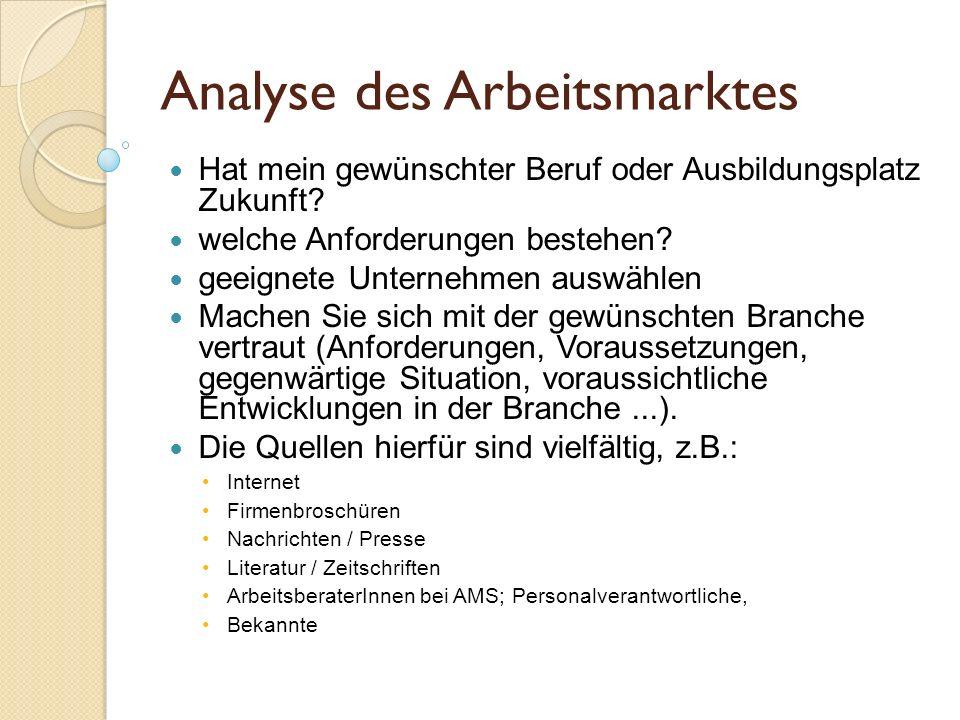 Analyse des Arbeitsmarktes