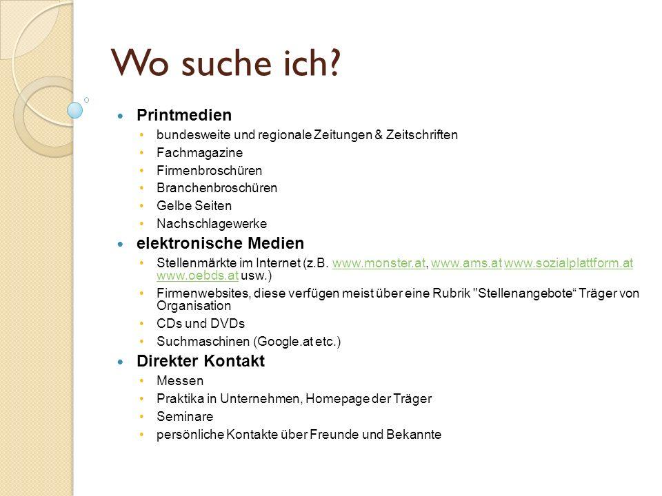 Wo suche ich Printmedien elektronische Medien Direkter Kontakt