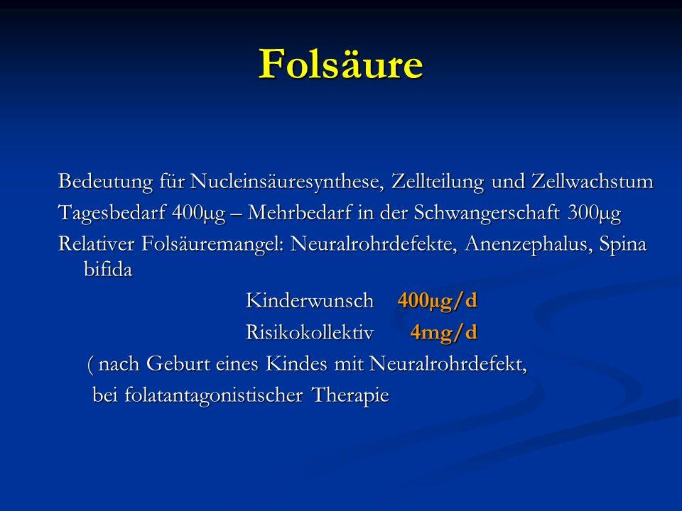 Folsäure Bedeutung für Nucleinsäuresynthese, Zellteilung und Zellwachstum. Tagesbedarf 400µg – Mehrbedarf in der Schwangerschaft 300µg.