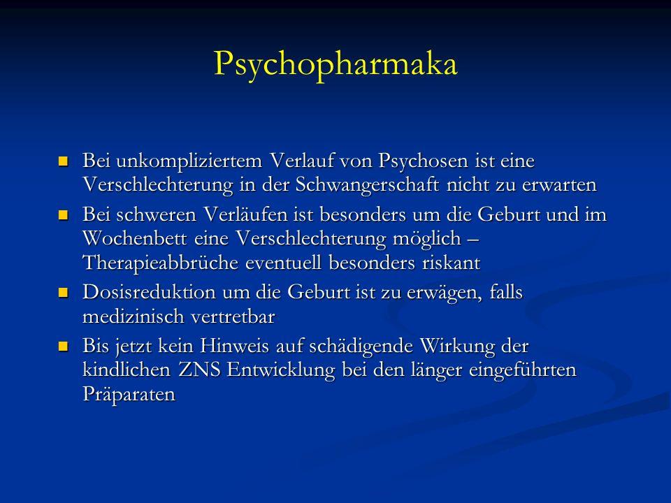 PsychopharmakaBei unkompliziertem Verlauf von Psychosen ist eine Verschlechterung in der Schwangerschaft nicht zu erwarten.