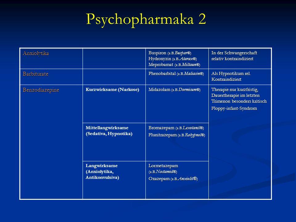 Psychopharmaka 2 Anxiolytika Barbiturate Benzodiazepine
