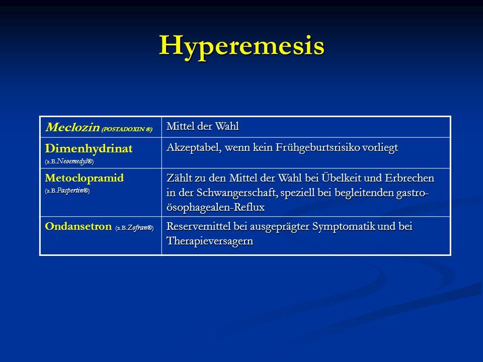Hyperemesis Meclozin (POSTADOXIN ®) Dimenhydrinat (z.B.Neoemedyl®)