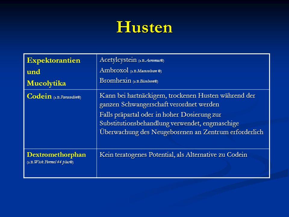 Husten Expektorantien und Mucolytika Codein (z.B.Paracodin®)