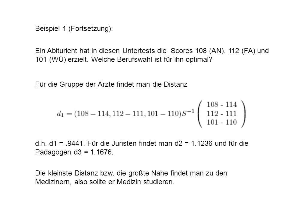 Beispiel 1 (Fortsetzung):
