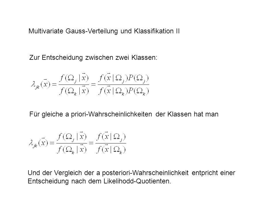 Multivariate Gauss-Verteilung und Klassifikation II