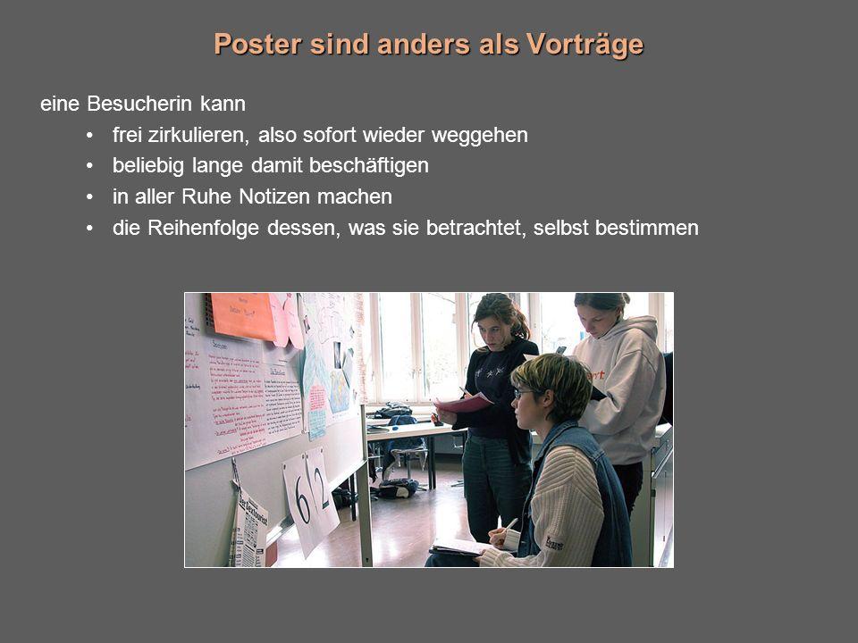 Poster sind anders als Vorträge