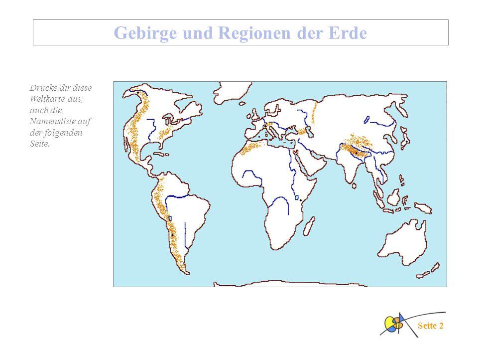 Gebirge und Regionen der Erde