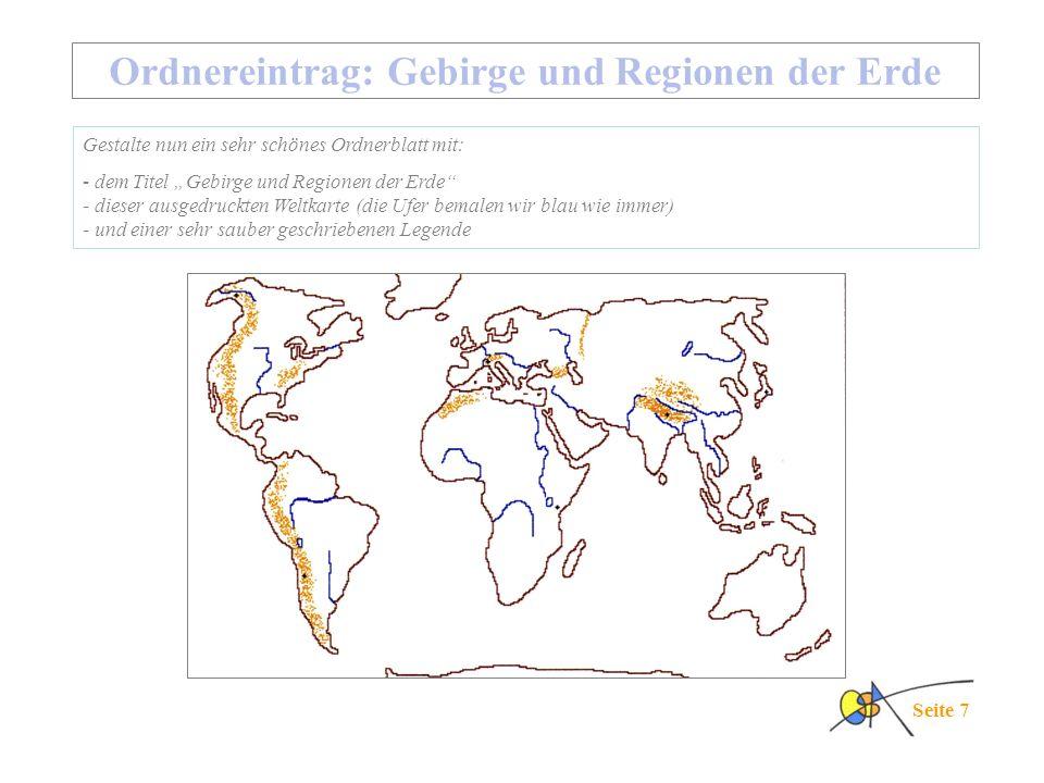 Ordnereintrag: Gebirge und Regionen der Erde