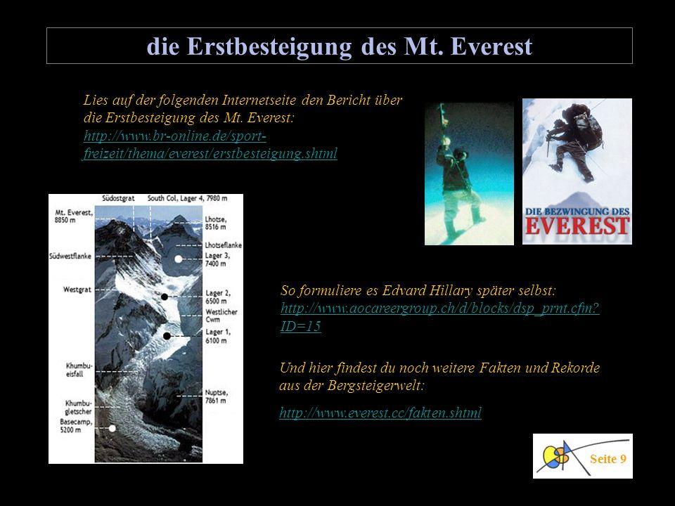 die Erstbesteigung des Mt. Everest