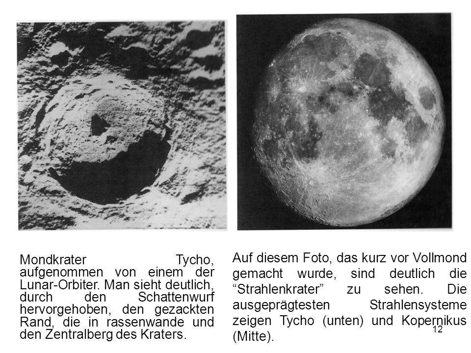 Mondkrater Tycho, aufgenommen von einem der Lunar-Orbiter