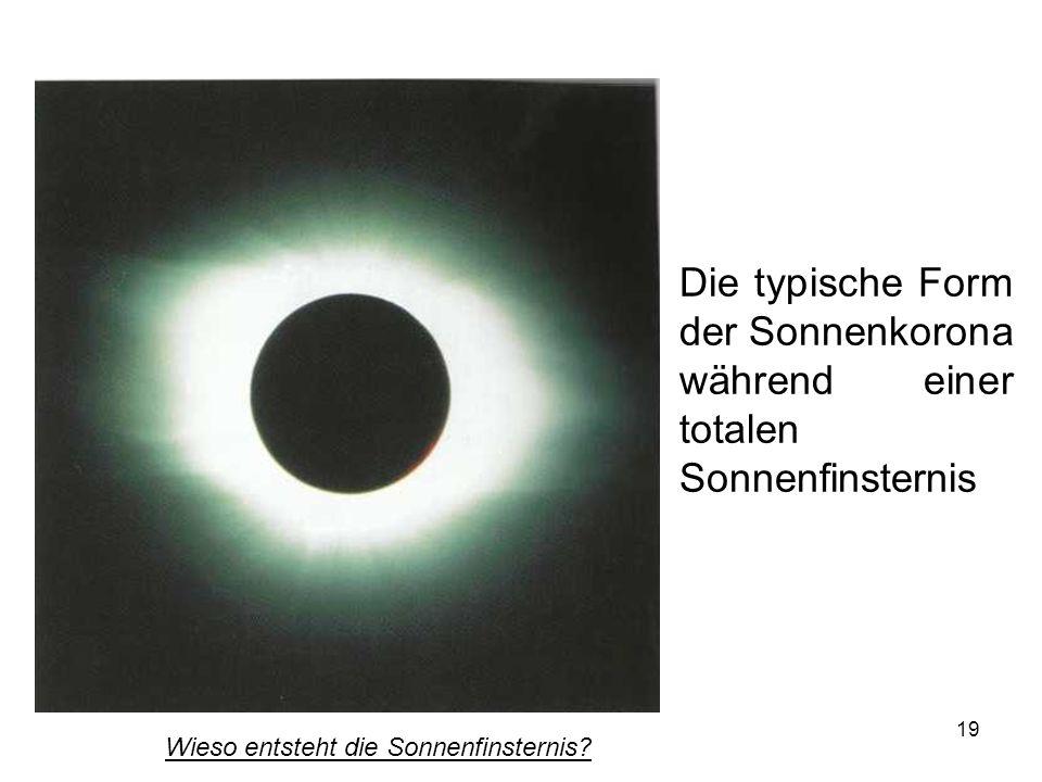 Die typische Form der Sonnenkorona während einer totalen Sonnenfinsternis
