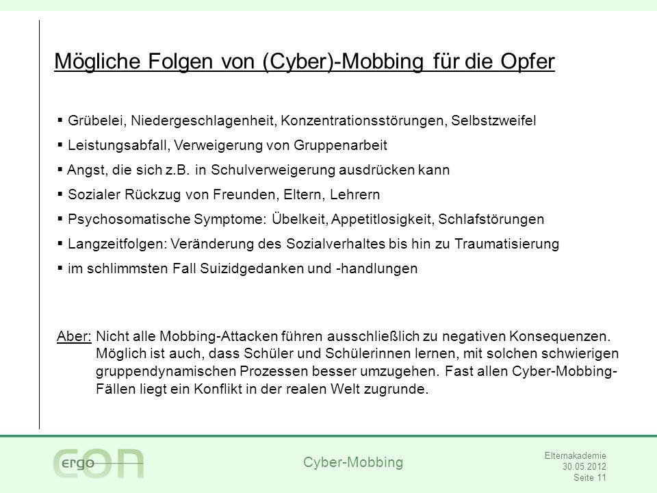 Mögliche Folgen von (Cyber)-Mobbing für die Opfer