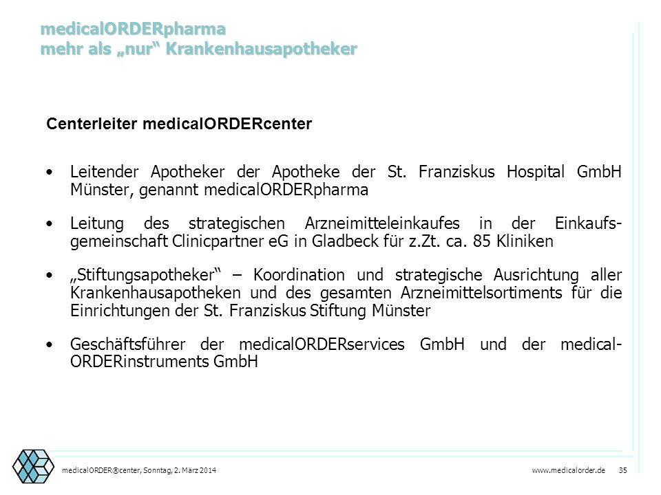 "medicalORDERpharma mehr als ""nur Krankenhausapotheker"