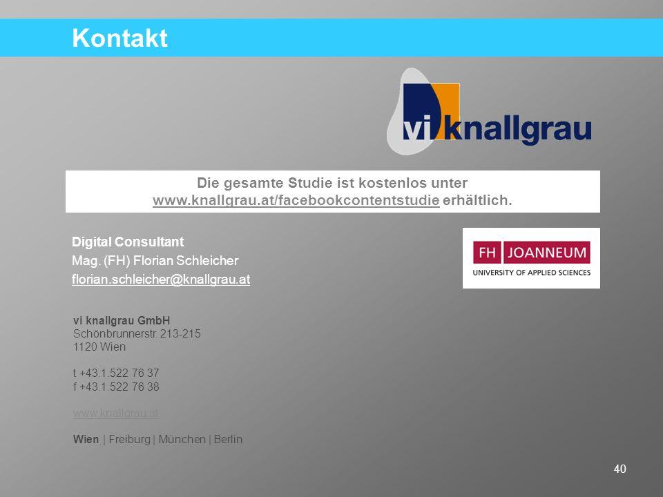 KontaktDigital Consultant. Mag. (FH) Florian Schleicher. florian.schleicher@knallgrau.at.