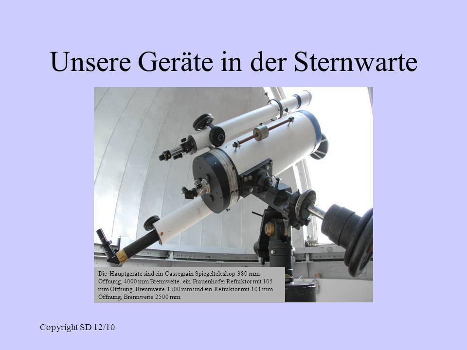 Unsere Geräte in der Sternwarte