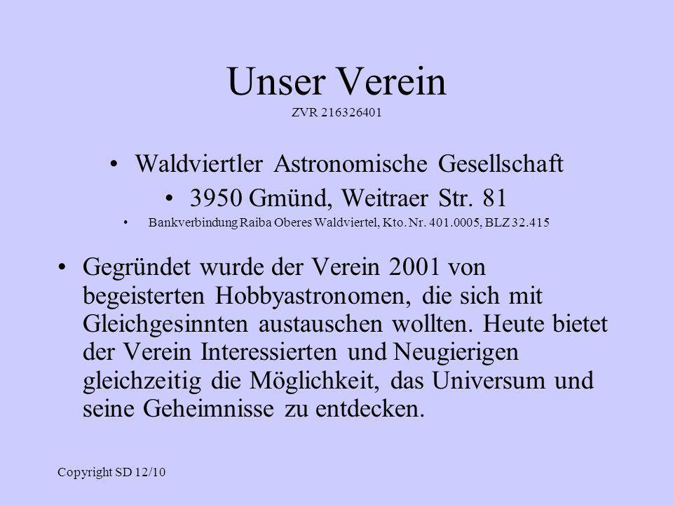 Unser Verein ZVR 216326401 Waldviertler Astronomische Gesellschaft