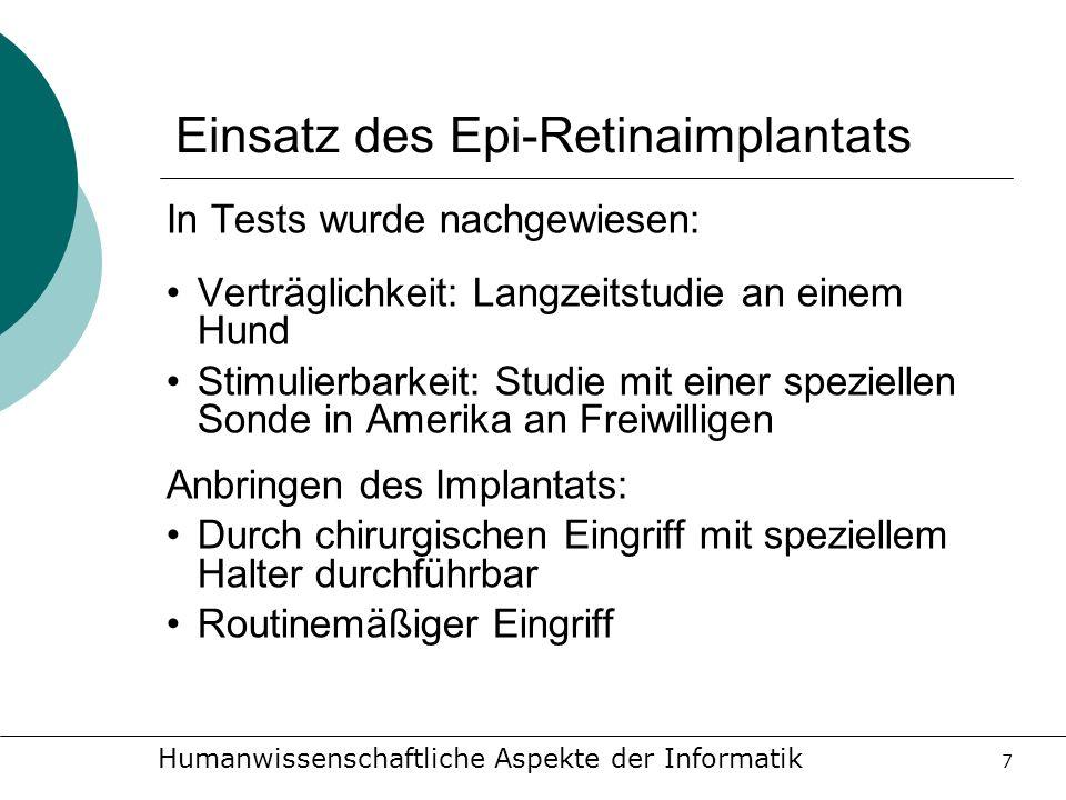 Einsatz des Epi-Retinaimplantats