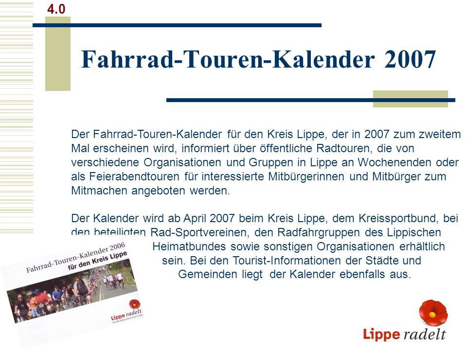 Fahrrad-Touren-Kalender 2007