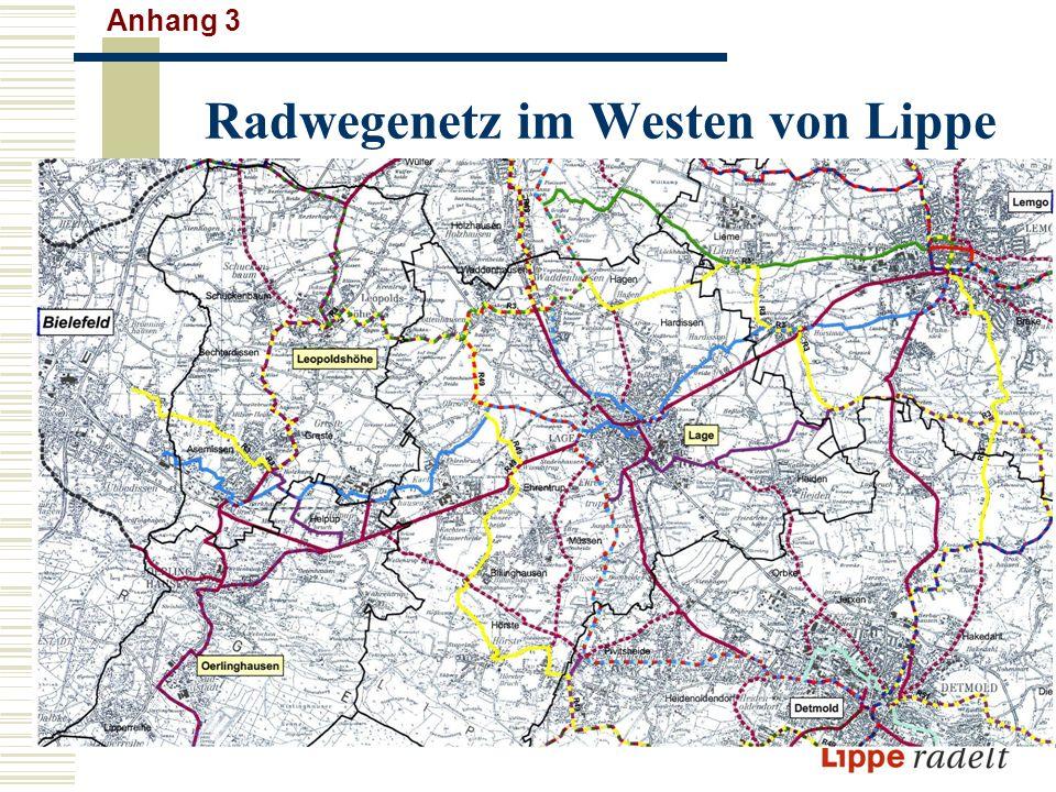 Radwegenetz im Westen von Lippe