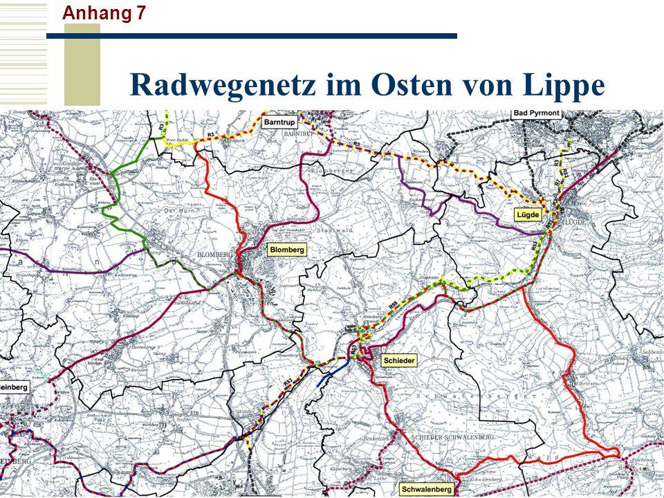 Radwegenetz im Osten von Lippe