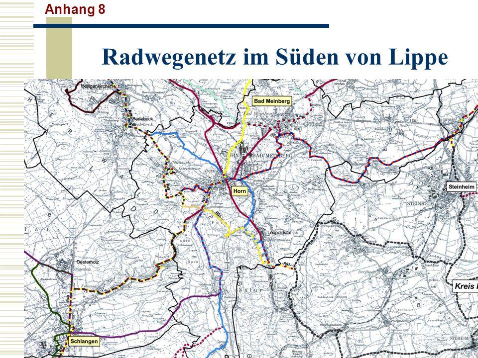 Radwegenetz im Süden von Lippe